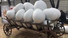 В Киев к Пасхе привезли гигантские белые яйца