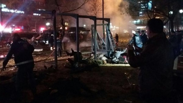 Взрыв в Анкаре: кадры с места происшествия