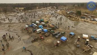Незаконная добыча янтаря в Ровенской области
