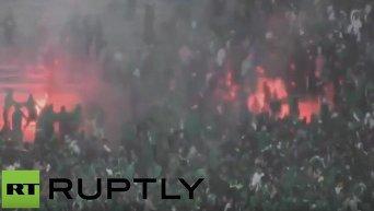 Массовая драка футбольных фанатов в Марокко