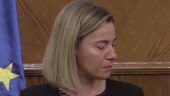 Федерика Могерини не смогла сдержать слез во время заявления по терактам в Брюсселе