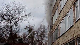 Пожар в киевской школе. Видео