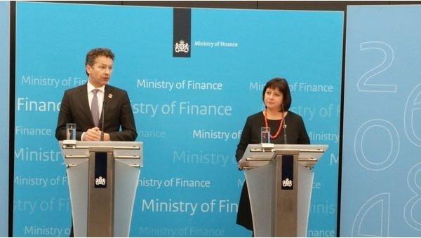 Министры финансов Нидерландов и Украины Йерун Дейсселблум и Наталия Яресько