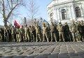 Палатка и горящие шины под стенами облпрокуратуры в Одессе