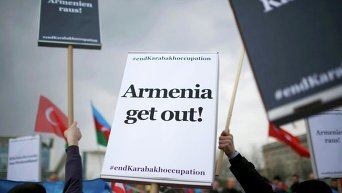 Акция протеста в ходе встречи лидеров Армении и ФРГ