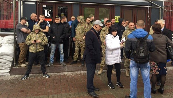 Ситуация возле Дома профсоюзов в Киеве из-за кафе Каратель