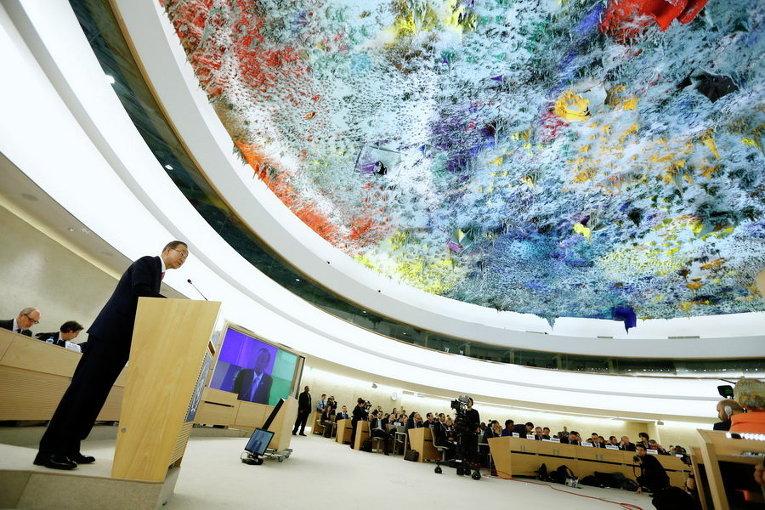 Генеральный секретарь ООН Пан Ги Мун в Женеве на Конференции по предотвращению экстремизма