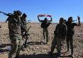 Солдаты правительственной армии Сирии с национальным флагом