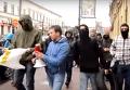 Дымовые шашки под представительством Россотрудничества в Киеве