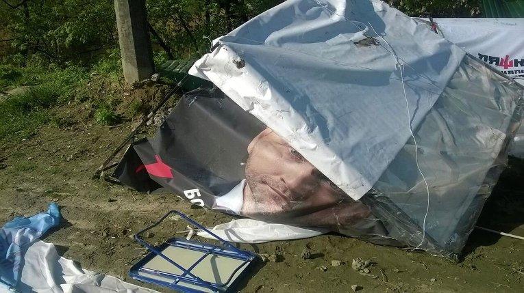Разбитый палаточный городок на Позняках в Киеве
