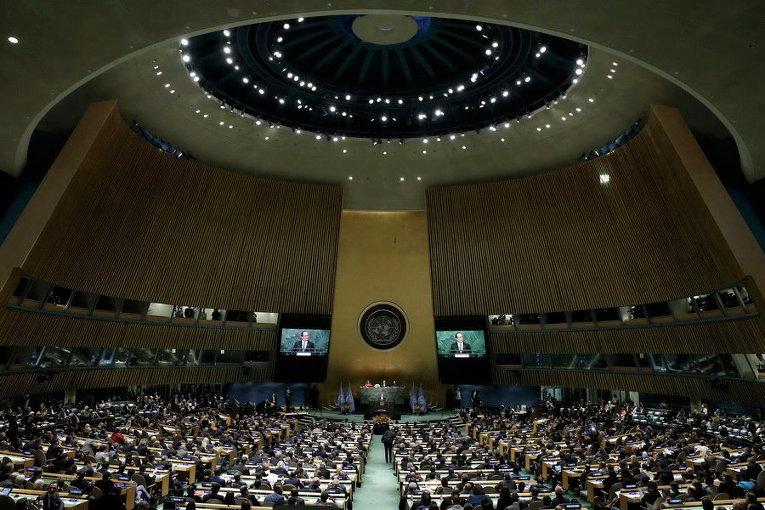 Президент Франции Франсуа Олланд выступил по случаю подписания Парижского соглашения об изменении климата в штаб-квартире Организации Объединенных Наций в Манхэттене, Нью-Йорк