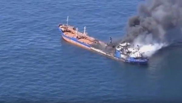 Пожар на российском танкере PALFLOT 2 в Каспийском море