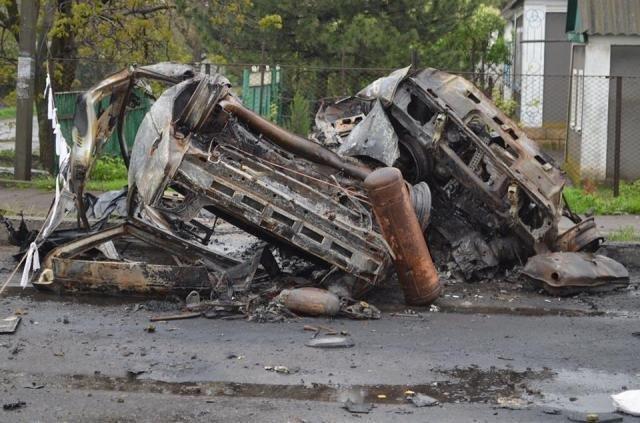 На месте обстрела блокпоста в Еленовке