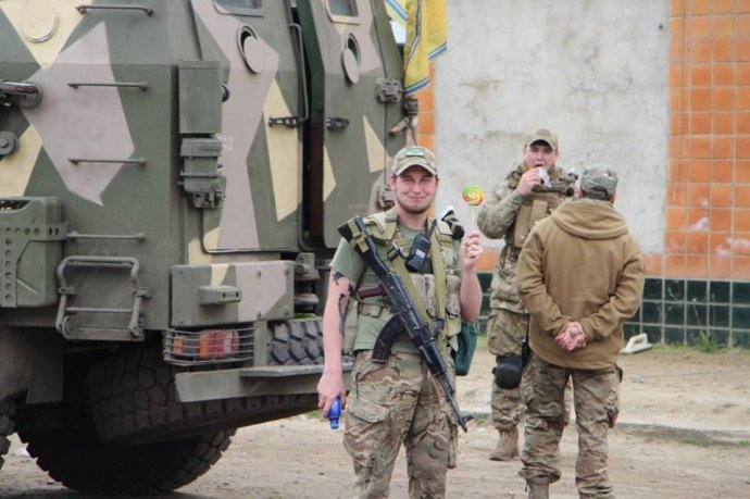 Бойцы полка Азов в Одессе