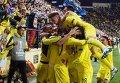 Игроки Вильяреала празднуют победу над Ливерпулем