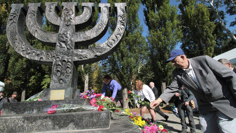 Памятник Менора в Бабьем Яру в Киеве. Архивное фото