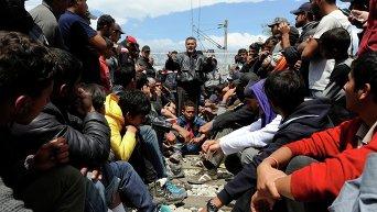 Лагерь беженцев на границе Греции и Македонии