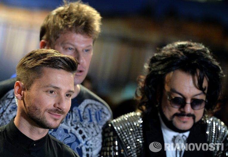 Певцы Сергей Лазарев и Филипп Киркорров (справа) после окончания финала международного конкурса Евровидение-2016 в Стокгольме