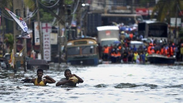 Масштабное наводнение на Шри-Ланке