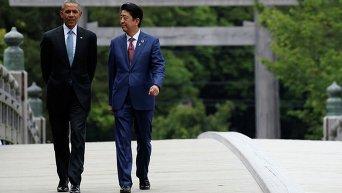 Барак Обама и Синдзо Абэ в ходе саммита G7 в Японии