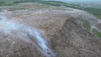Последствия пожара и обвала на свалке во Львове: кадры беспилотника. Видео