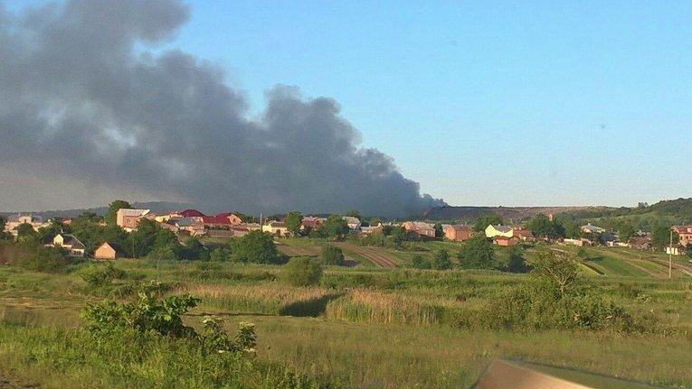 Тушение пожара на Грибовицкой свалке