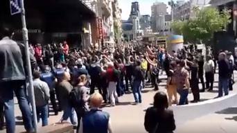 Контрсобрание после гей-парада в центре Киева. Видео