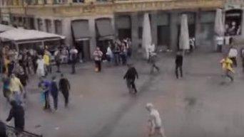 Нападение на украинских болельщиков в Лилле. Видео