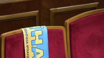Шарф болельщика сборной Украины в матче против Сервеной Ирландии на ЧЕ по футболу 2016 в Верховной Раде