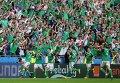 Игроки сборной Северной Ирландии и болельщики радуются победе