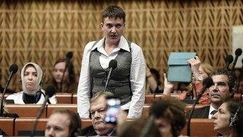 Народный депутат Надежда Савченко во время заседания ПАСЕ
