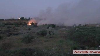 Пожар на свалке в Николаеве. Видео
