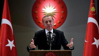 Президент Турции Тайип Эрдоган выступает с речью в Анкаре, Турция