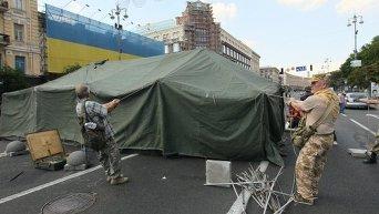 Протестующие установили палатку на проезжей части ул Крещатик