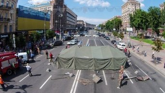 Палатка протестующих на Крещатике с высоты птичьего полета