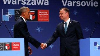 Президент США Барак Обама и президент Польши Анжей Дуда