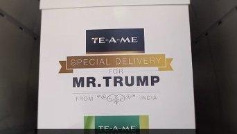 Дональду Трампу подарили 6 тыс. пакетиков чая для ума. Видео