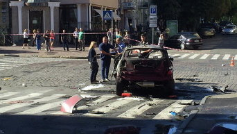 На месте взрыва автомобиля, в результате чего погиб Павел Шеремет