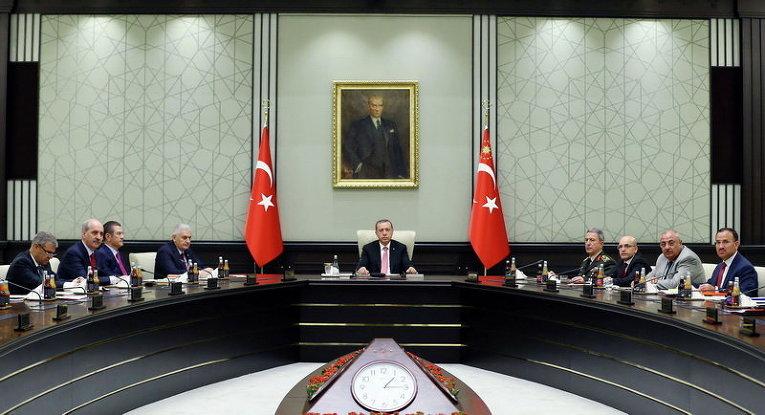 Президент Турции Тайип Эрдоган провел заседание Совета национальной безопасности в президентском дворце в Анкаре, Турция