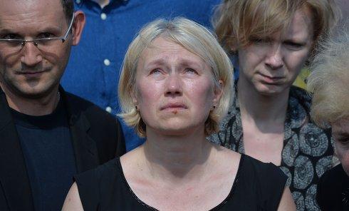 Алена Притула на похоронах Павла Шеремета в Минске