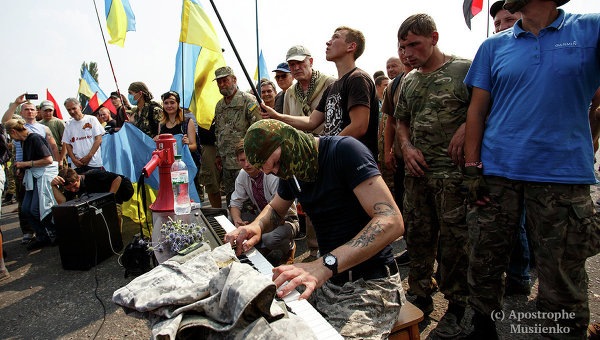 Противники Крестного хода в Борисполе