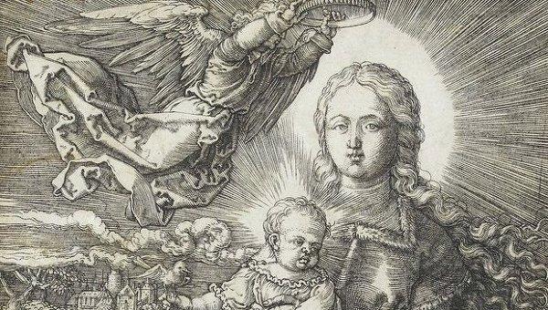 Медная гравюра Дева Мария коронованная ангелом
