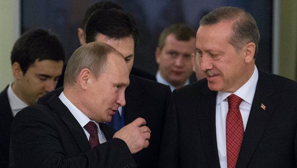 Владимир Путин (слева) и Реджеп Тайип Эрдоган (справа)