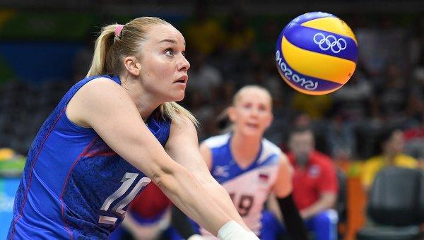 Игрок сборной России Екатерина Косьяненко в матче группы А женского волейбольного турнира между сборными командами России и Аргентины на XXXI летних Олимпийских играх.