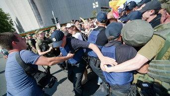 Митингующие вкладчики ликвидируемых банков в Киеве