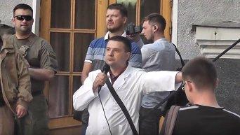 Пикет МОЗ батальоном Азов и медиками в Киеве