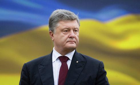 Президент Украины Петр Порошенко на параде по случаю 25-летней годовщины со Дня Независимости Украины в Киеве.