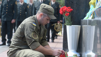 Поминальные мероприятия по военнослужащим Национальной гвардии, которые погибли во время несения службы 31 августа 2015 года возле Верховной Рады.