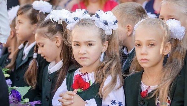 Первоклашки в Украине. Архивное фото