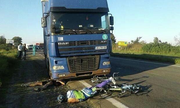 Под Киевом фура влетела вгруппу велосипедистов, необошлось без жертв